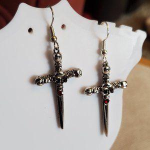 JPL Silver Tone Skull Cross Dangle Hook Earrings